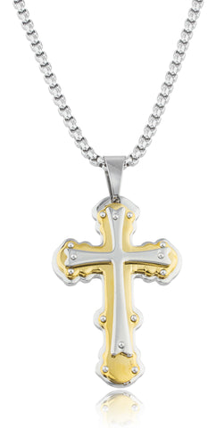 Large Stainless Steel Two-tone Ancient Triple Cross Pendant With A 24 Inch Round Box Chain Necklace