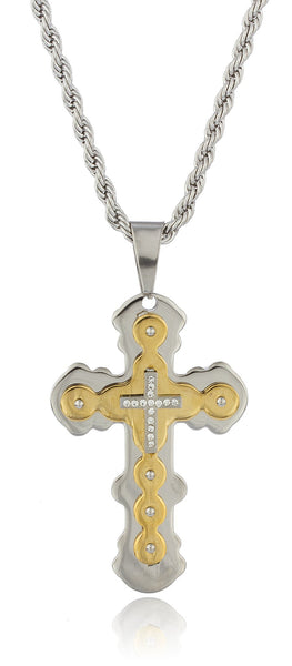 Large Stainless Steel Two-tone Ancient Triple Cross Pendant With Stones And A 24 Inch Rope Chain Necklace