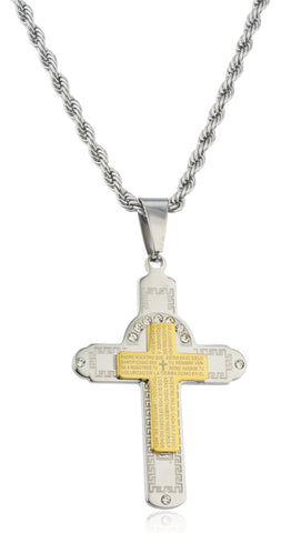Large Stainless Steel Two-tone Cross With Spanish Text And Greek Key Design Pendant With Stones And A 24 Inch Rope Chain Necklace