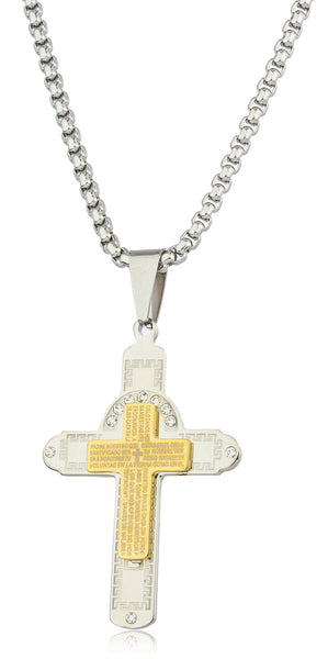 Large Stainless Steel Two-tone Cross With Spanish Text And Greek Key Design Pendant With Stones And A 24 Inch Round Box Chain Necklace