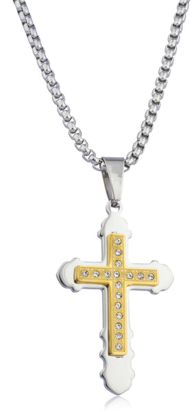 Large Stainless Steel Two-tone Double Cross Pendant With Stones And A 24 Inch Rope Chain Necklace