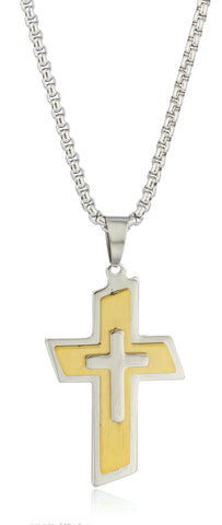Large Stainless Steel Two-tone Slanted Triple Cross Pendant With A 24 Inch Round Box Chain Necklace