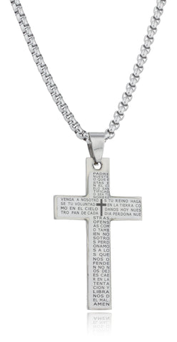 Large Stainless Steel White Cross With Spanish Text Pendant And A 24 Inch Round Box Chain Necklace