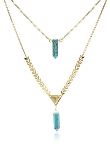 Layered Double Simulated Stone Necklace