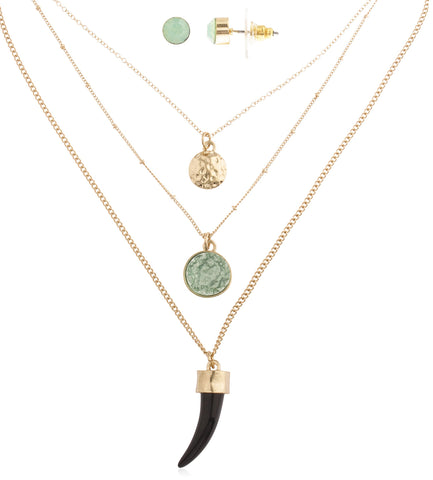 Layered Goldtone Necklace With Colored Sabertooth Plus Clear Stone Pendants And Earrings Jewelry Set (Mint/Black)