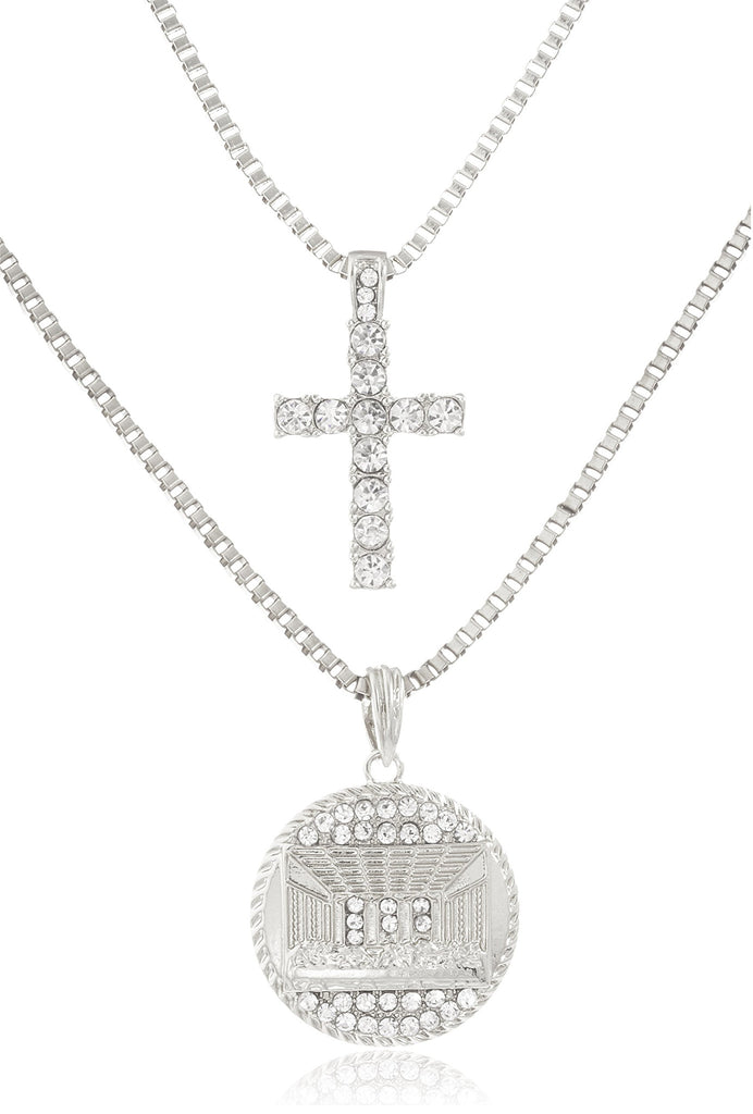 Layered Iced Out Cross And Last...
