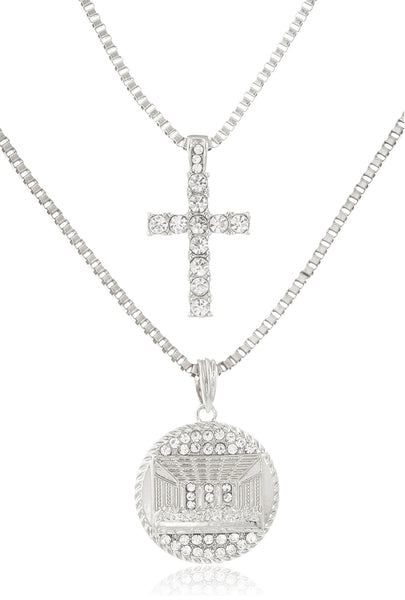 Layered Iced Out Cross And Last Supper Pendant With Box Chain - Goldtone Or Silvertone (Silvertone)