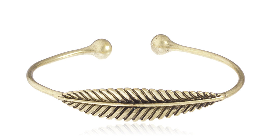 Leaf Style Cuff Bangle (Goldtone)