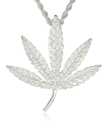Marijuana Leaf Pendant With Rope Chain (Silvertone)