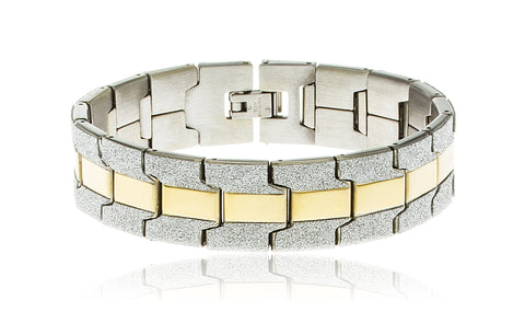 Men's 8 Inch Stainless Steel Semi-sandblast Key Link Bracelet