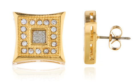 Men's Double Square Shaped With Stones Stud Earrings (Goldtone)
