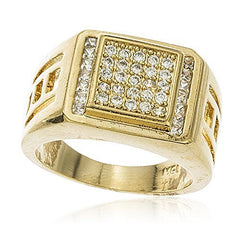 Men's Gold Layered Cubic Zirconia Curved Layered Square Ring Sizes 9-12