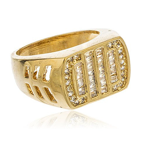 Men's Gold Layered Iced Out Curved Rectangle Cubic Zirconia Stones Ring Sizes 9-12