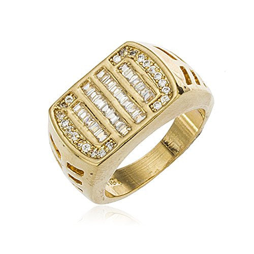 Men's Gold Layered Iced Out Curved...