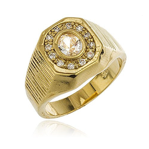 Men's Gold Layered Iced Out Octagon...