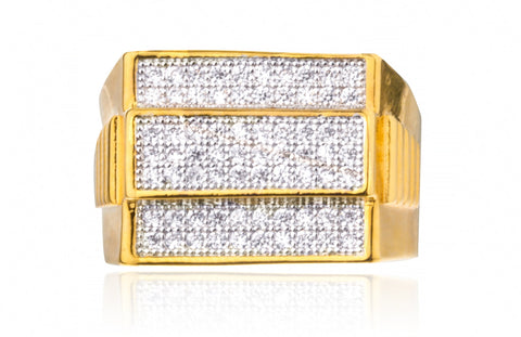 Men's Goldtone 3 Row Rectangle Cz Layered Ring Sizes 10-11