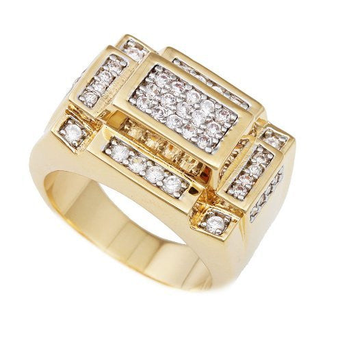 Men's Goldtone 3d Rectangle Cz Ring Sizes 7-16