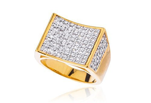 Men's Goldtone Cz Curved Rectangle Ring Sizes 10-11