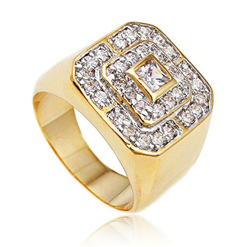 Men's Goldtone Cz Layered Squares Ring...
