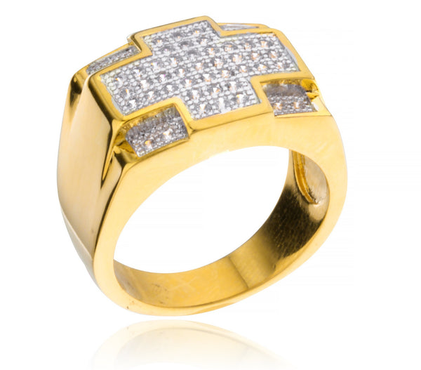 Men's Goldtone Cz Symmetrical Ring Sizes 10-11