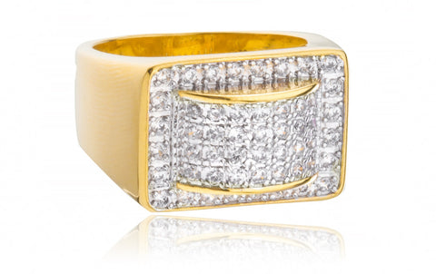 Men's Goldtone Rectangle With Round 3D Design CZ Ring Sizes 10-11