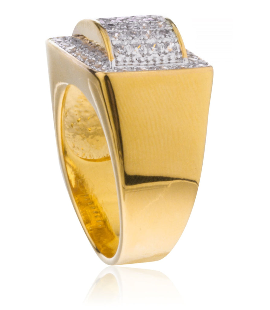 Men's Goldtone Rectangle With Round 3D...