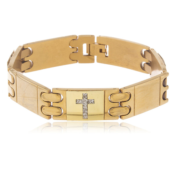 Men's Goldtone Stainless Steel Sandblast Multi Cross 8.5 Inch Designer Bracelet With Snap Clasp