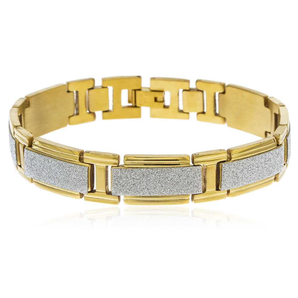 Men's Goldtone Stainless Steel Silver Sandblast...