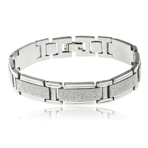 Men's Goldtone Stainless Steel Silver Sandblast Rectangles 8.5 Inch Designer Bracelet With Snap Clasp