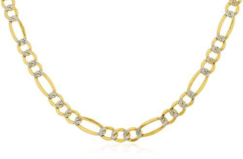 Men's Real 10k Yellow Gold 6.25mm Pave Figaro Chain (Available In 22-26 Inches)