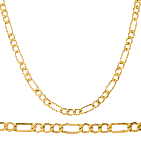 "Men's Real 14k Yellow Gold 4.5mm Figaro Chain Necklace - 22"" 24"" And 30"" Available"