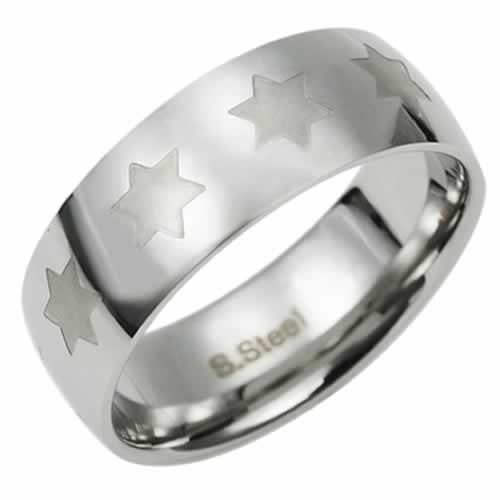 Men's Silver Stainless Steel Multi Mini Star Of David Ring