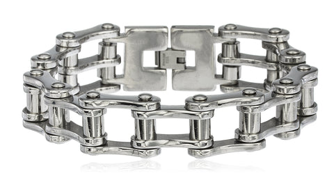 Men's Silvertone Stainless Steel Heavy Bike Chain 9 Inch Bracelet With Snap Clasp