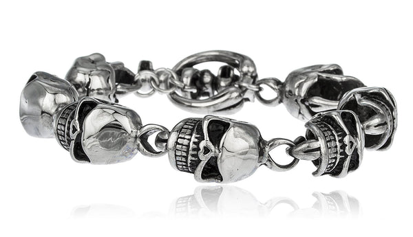 Men's Silvertone Stainless Steel High Detailed Skull Chain 8 Inch Bracelet With Toggle Clasp