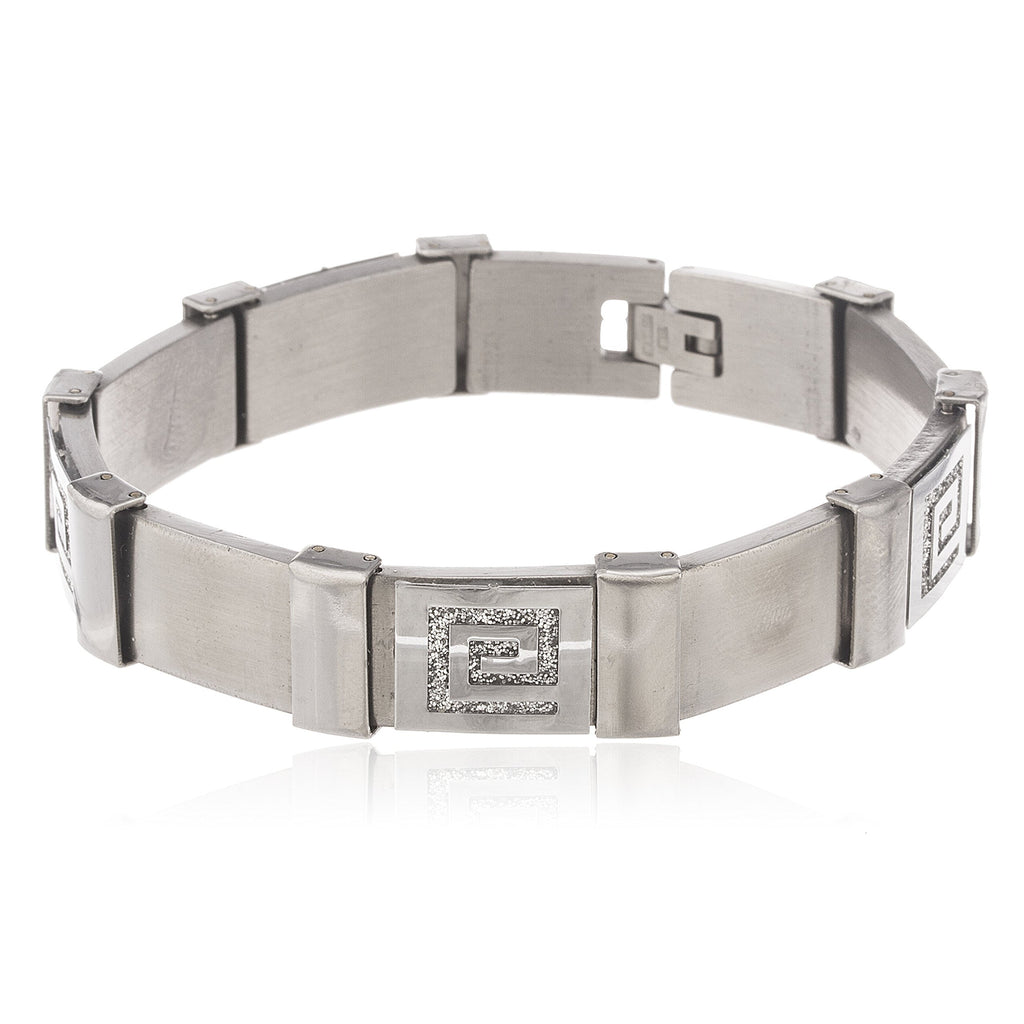 Men's Silvertone Stainless Steel Sandblast Greek...