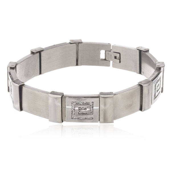 Men's Silvertone Stainless Steel Sandblast Greek Symbol 8 Inch Designer Bracelet With Snap Clasp