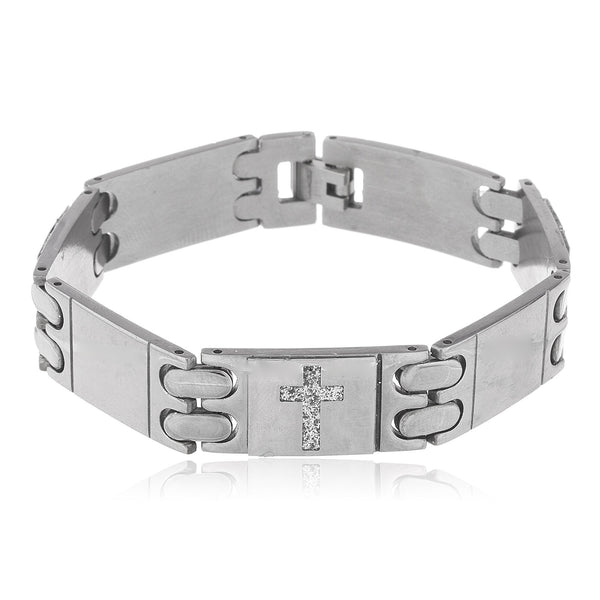 Men's Silvertone Stainless Steel Sandblast Multi Cross 8.5 Inch Designer Bracelet With Snap Clasp