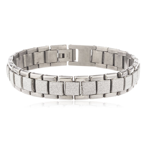 Men's Silvertone Stainless Steel Sandblast Squares 8.5 Inch Designer Bracelet With Snap Clasp