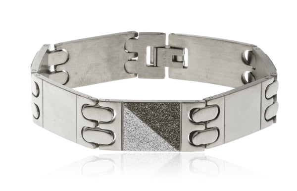 Men's Stainless Steel 8.5 Inch Bracelet With Alternating Sandblast Squares (Silvertone)