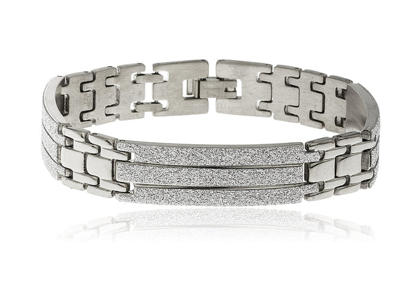 Men's Stainless Steel 8 Inch Bracelet With Sandblast Sections (Silvertone)