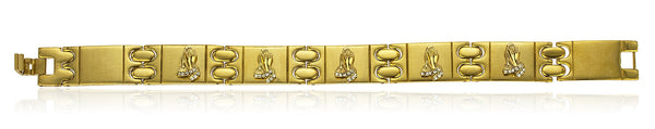 Men's Stainless Steel 8 Inch Designer Bracelet With Snap Clasp And Embedded Prayer Hands (Goldtone)