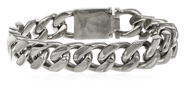 Men's Stainless Steel Cuban Chain 9 Inch Bracelet With Snap Clasp