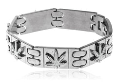 Men's Stainless Steel Sandblast 8 Inch Designer Bracelet With Snap Clasp And Embedded Marijuana Leaves (Silvertone)