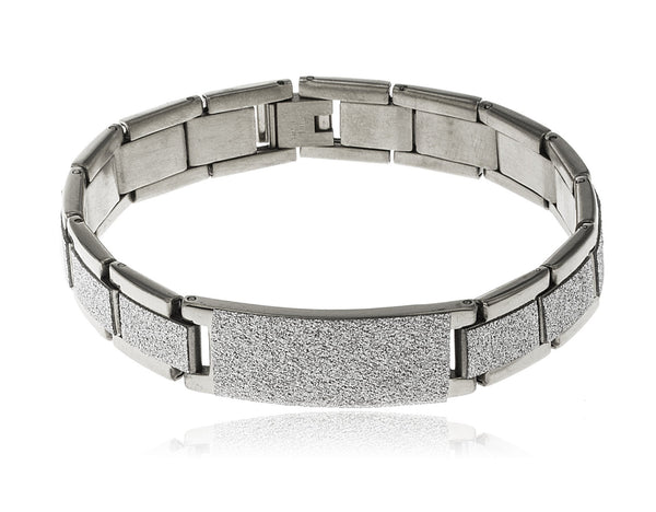 Men's Stainless Steel Sandblast Bridged Center 8.5 Inch Bracelet With Snap Clasp (Silvertone)