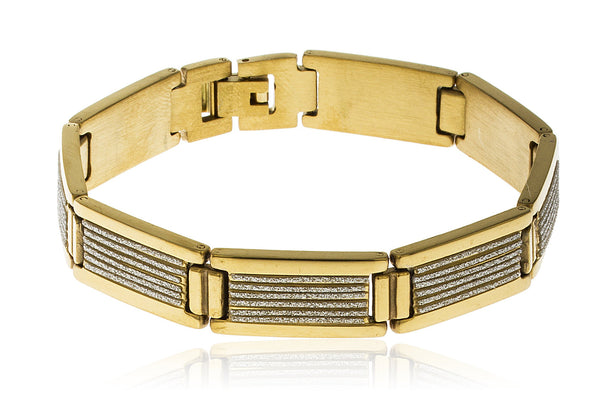 Men's Stainless Steel Sandblast Stripe Designs 8 Inch Bracelet With Snap Clasp And (Goldtone)