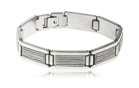 Men's Stainless Steel Sandblast Stripe Designs 8 Inch Bracelet With Snap Clasp And (Silvertone)