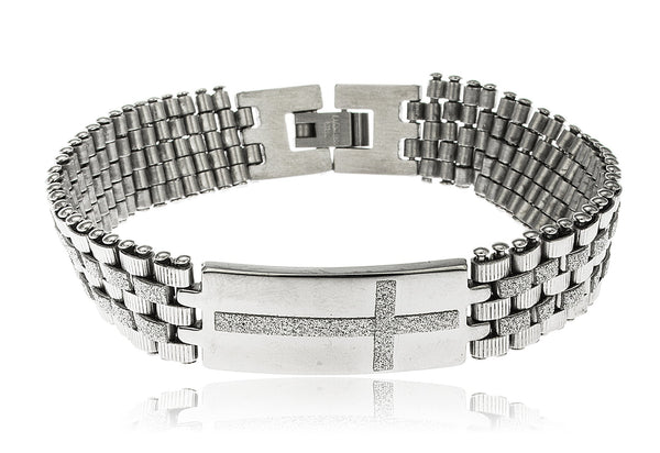 Men's Stainless Steel Snap Clasp Bracelet With Cross (Silvertone)
