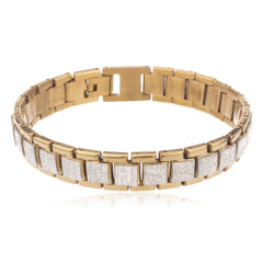Men's Two Tone Stainless Steel Sandblast Squares 8.5 Inch Designer Bracelet With Snap Clasp