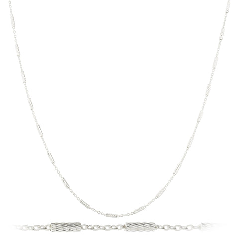 Mens 925 Sterling Silver 1.5mm Tube Link Chain