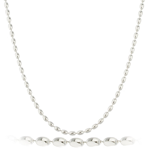Mens 925 Sterling Silver 3mm Oval Beaded Chain Necklace